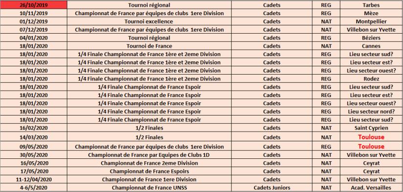 calendrier tournois cadets